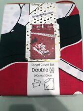Primark DISNEY Mickey & Minnie Mouse Christmas Duvet Cover Double Bedding Rare