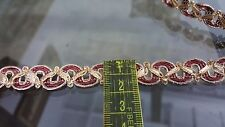 1.5cm- 2 metre Beautiful gold and burgundy braid lace trimming for crafts arts