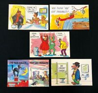 Set of 5 NPO Humour Postcards, Cats Canoe Burglar Robber Toilet