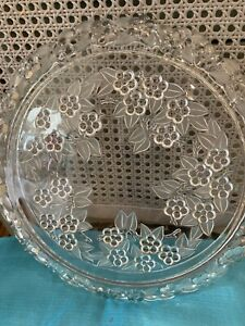 Glass Flat Cake Plate Very Heavy With Raised Flowers ( Wedding Cake Stand )