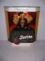1991 Happy Holidays Barbie Doll NRFB Blonde Hair Green Dress Mattel #1871.