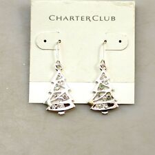 Pretty black lotus flower or silver and clear Christmas tree earrings
