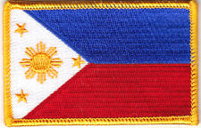 PHILIPPINES FLAG w/GOLD BORDER - IRON ON EMBROIDERED PATCH - FLAG OF PHILPPINES