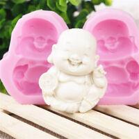 Buddha Smiling Face Cake Mould Candle Soap Soft Silicone Mold DIY Making Craft