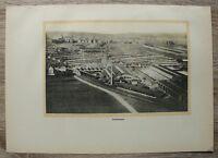 Kunstdruck Blatt 1928 Mannheim Luftbild Fabrik Anlagen Gebäude Bahnlinie 21x31cm