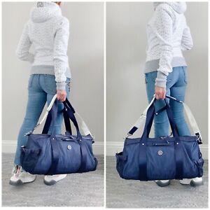 EUC Lululemon Run On Duffel Gym Yoga Bag Cadet Blue Mesh