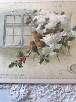 Vintage Christmas Postcard Birds Robins? Window John Winsch 1913 Snowy Germany