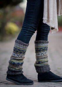 Hand Knit 100% Woolen Gray and Mint Green Multicolored Legwarmers WO55L