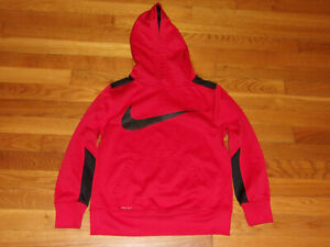 NIKE DRI-FIT RED/BLACK LONG SLEEVE HOODIE BOYS MEDIUM 10-12 EXCELLENT CONDITION