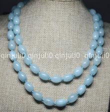Genuine Natural 10x14mm Blue Rice Aquamarine Bead Gemstone Necklace 36'' JN766
