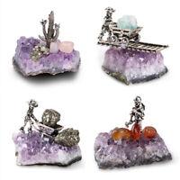 Natural Amethyst Quartz Geode Druzy Crystal Cluster Healing Specimen Decor