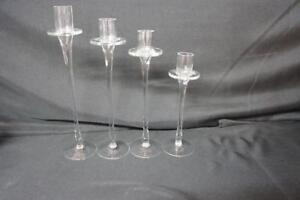 4  Graduating CRYSTAL Clear CANDLE STICKS HOLDERS International Silver Co