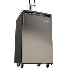 Full Size Kegerator Beer Keg Refrigerator, Stainless Steel Twin Tap Draft Cooler
