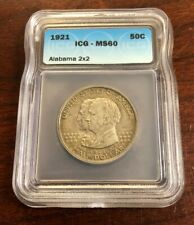 1921 50C Alabama 2X2 Commemorative Half Dollar ICG MS60