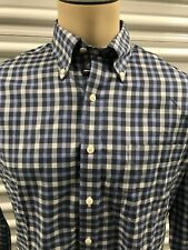 Mens Non-Iron Wrinkle Resist Blue Plaid Kirkland Comfort-Fit Pocket Sport Shirt