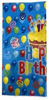 AEX Birthday Disposable Tablecloth Cover Plastic Party Tableware (Blue Cake)