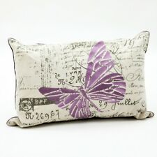 Butterfly Cushion Purple & Cream Lilac Rectangle Luxury Vintage Filled 60 X40cm