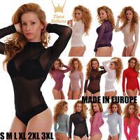 Mesh Women Bodysuit turtle mock neck thong S-3XL Luxury Body Tulle Leotard 337EU