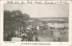 Bridlington Childrens Corner P/U 1904 Busy Beach Scene