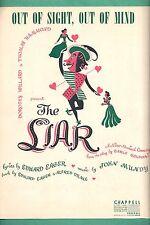 """Melville Cooper """"THE LIAR"""" Paula Laurence / Walter Matthau 1950 FLOP Sheet Music"""