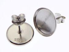 6 Stück 925 Silber Ohrstecker Rohlinge rhodinert für 12mm Cabochons (JC12mm)
