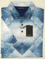 NWT $129 Bugatchi Blue SS Shirt Shaped Fit Mens M Short Sleeve 100% Cotton