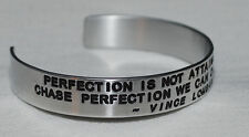 Quote By: ~ Vince Lombardi ~ / Engraved, Hand Polished Bracelet,Gift Bag