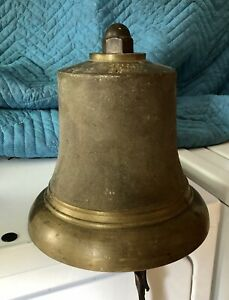 RARE LARGE  10 INCH SHIPS BELL Antique Salvaged Large Brass Bronze British Heavy