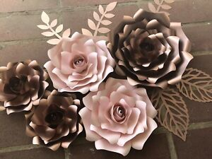 Paper Flowers ROSES set of 5 with leaves, Backdrop, Wedding, Nursery, Rosegold
