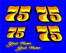 Racing Number Decal Go Kart Motocross Sticker Bmx 3 Color Set Of 4 2 Names