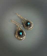 Antique Filigree Enamel & Faux Turquoise Earrings with 14K Gold Filled Ear Wires