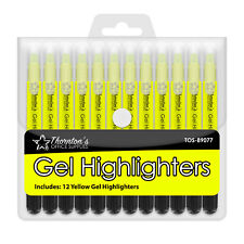 12 Thornton's Office Supplies Twist-Retractable Bible Gel Highlighters Yellow