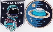 Aufnäher iron-on patch Bügelbild  Space Explorer Set 2x Weltall Raumfahrt