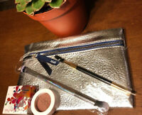 Ipsy Silver Color Bag Plus 2 Brushes Eyeshadow - 1 Billion Dollar Brush..