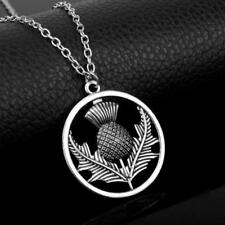 SILVER PLATED PENDANT NECKLACE - THISTLE - FREE UK P&P....CG1256