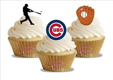 12 x  Baseball Chicago Cubs Mix Trio Mix   Birthday Sports  Edible Cake Toppers