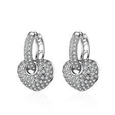 Woman Fshion Jewelry 925 Silver Plated Drop Dangle Heart Zirconia Hoop Earrings