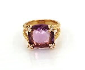 David Yurman 18K Gold Cushion On Point Amethyst Diamond Ring
