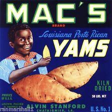 Chataignier Louisiana Mac's Yams Sweet Potato Yam Crate Label Vintage Art Print