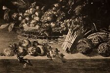 gravure XIX° Emile Salmon d'ap. KALF, fruits et légumes, nature morte