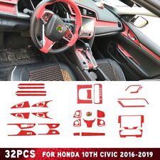 32Pcs Red Interior Accessories Film Cover trim For Honda 10th Civic 2016-2019