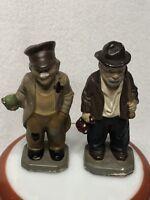 "Vintage Hollow Chalkware HOBO Figurines Folk Art Hand Painted 5"" Tall"