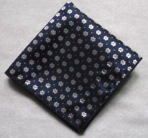 "Handkerchief MENS Hankie NEW Top Pocket Square NAVY FLORAL 9"" X 9"""