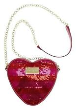 BETSEY JOHNSON Pink Red Sequin Heart Shape Faux Leather Chain Crossbody Purse