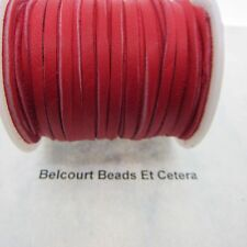 """20' Deer Leather Red Lacing 1/8"""" Wide by 120"""" Long Real Leather Made in USA"""