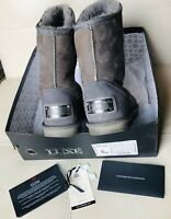 AUSTRALIA LUXE Collective Gray Suede Shearling COSY SHORT Sheepskin Boots Sz 8