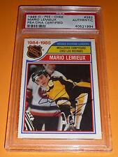 1985-86 OPC #262 Mario Lemieux Rookie Scoring Leaders Auto PSA/DNA Autograph RC
