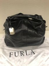 FURLA ELISABETH LEATHER OSTRICH SHOULDER TOTE LARGE HOBO BAG PURSE - BLACK - EUC