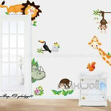 Jungle Animal Safari Wall decals Removable sticker kids art nursery Corner decor