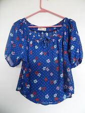 Hollister  junior Peasant style  Short sleeve Sheer Crop Top Shirt  Size XS